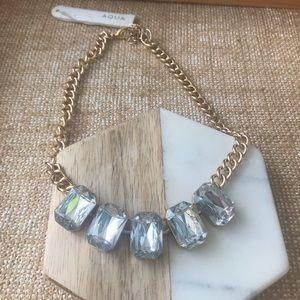 Aqua Stone Gold Chain Choker Statement Necklace